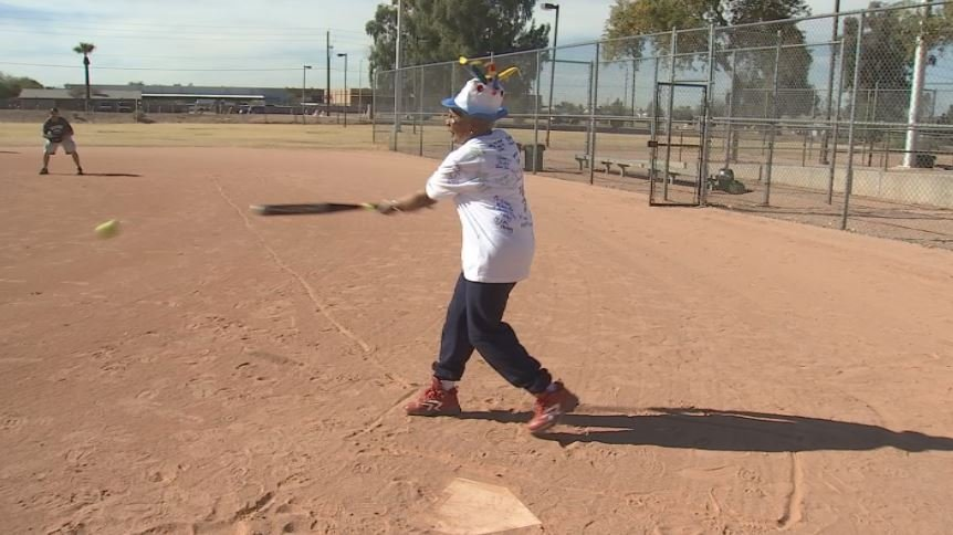 Arizona Sports Hall of Famer Billie Harris celebrated her 85th birthday with a base hit. (Source: 3TV/CBS 5)