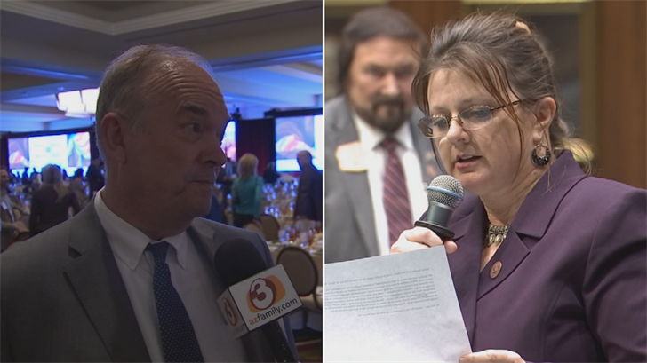 House Majority Leader Kelly Townsend, right, said she wants Rep. Don Shooter, left, expelled unless he resigns first after being accused of a pattern of sexual harassment. (Source: 3TV/CBS 5)