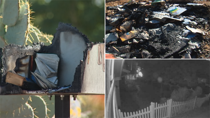 """Nick Barnhiser said somebody lit his """"little library"""" on fire in Phoenix. (Source: 3TV/CBS 5)"""