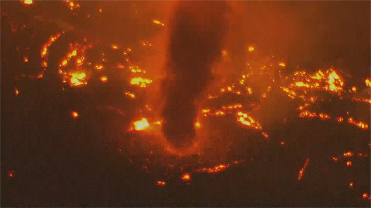 "Several ""fire tornadoes"" were spotted from the air Wednesday night. (Source: 3TV/CBS 5)"