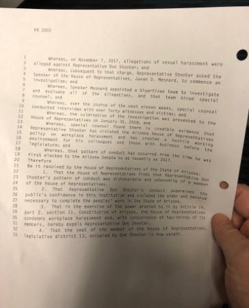 Resolution to expel Rep. Don Shooter from office (Source: 3TV/CBS 5)