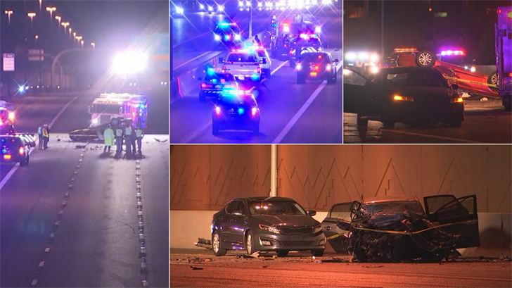 A wrong-way crash occurred on northbound Loop 101. (Source: 3TV/CBS 5/ADOT)