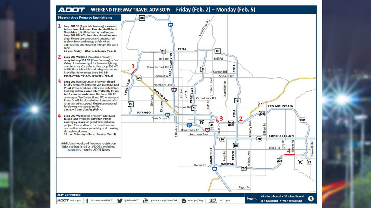 ADOT Weekend Freeway Travel Advisory Feb 2-5 (Source: Arizona Department of Transportation)