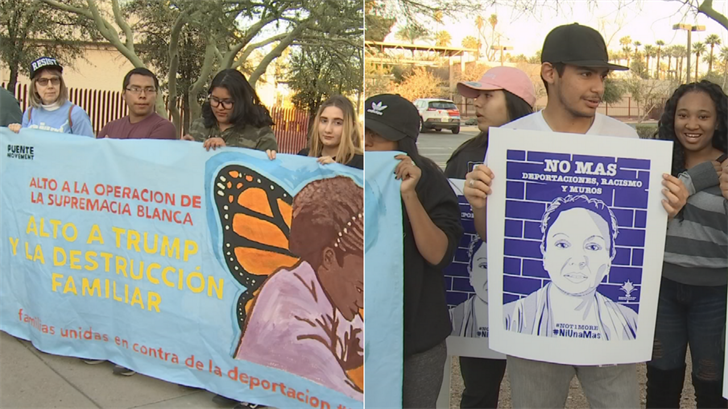 Family members of Gaudalupe Garcia de Rayos and activists gathered to remember her deportation. (Source: 3TV/CBS 5)