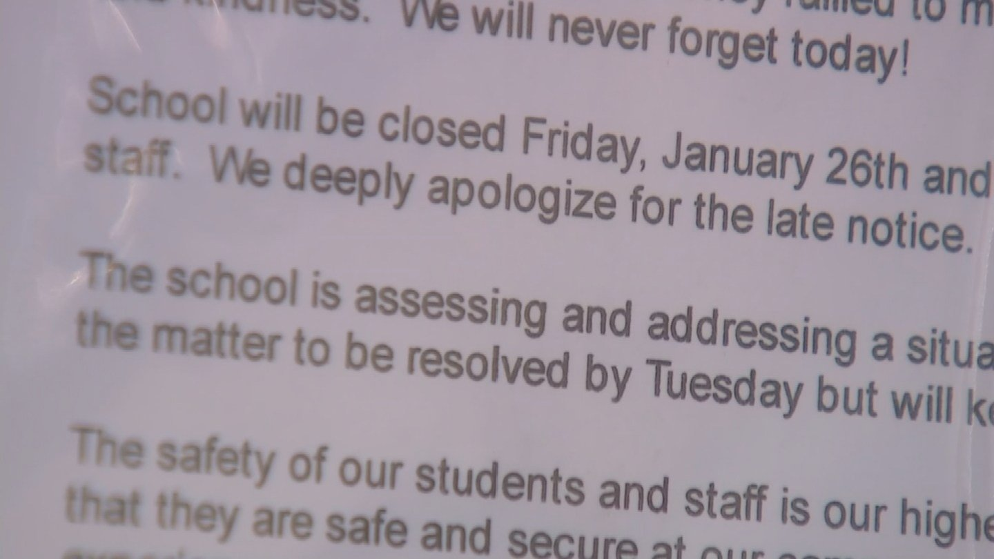 Letter posted at school announcing the closure. (Source: 3TV/CBS 5 News)