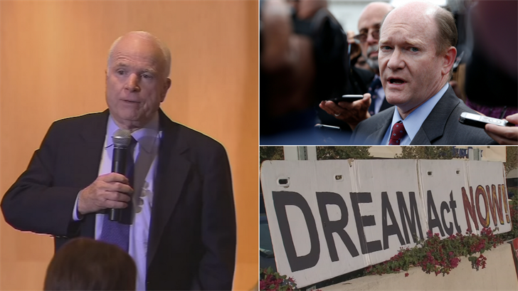 Arizona Republican Sen. John McCain and Delaware Democratic Sen. Chris Coons are behind a bill that would grant eventual citizenship to young undocumented immigrants who have been in the country since 2013. (Source: 3TV/CBS 5/AP)