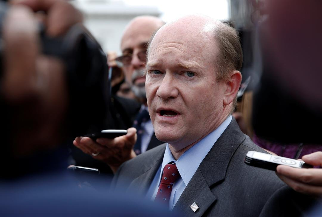 Sen. Chris Coons, D-Del., talks with reporters after an all Senators briefing on the Democratic People's Republic of Korea at the Eisenhower Executive Office Building, Wednesday, April, 26, 2017. (Source: AP Photo/Carolyn Kaster)
