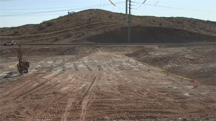 Construction of the new Loop 202 freeway is booming with Arizona's Department of Transportation crews blasting away two to three times a week. (Source: 3TV/CBS 5)