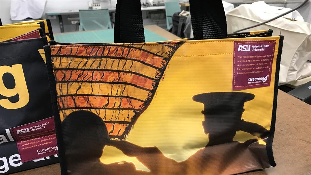 Upcycled tote bag made from an ASU Salute to Service vinyl banner (Source: ASU.edu)