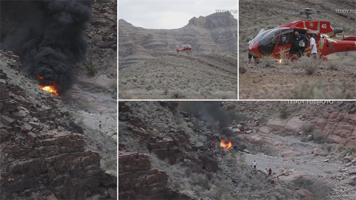 Six passengers and a pilot were on board the Papillion Grand Canyon Helicopters chopper when it crashed under unknown circumstances. (Source: Teddy Fujimoto)
