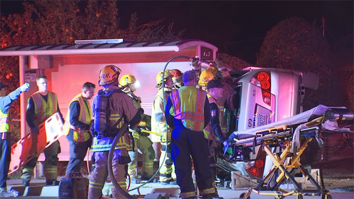 A woman was trapped inside her vehicle after crashing it in Phoenix. (Source: 3TV/CBS 5)
