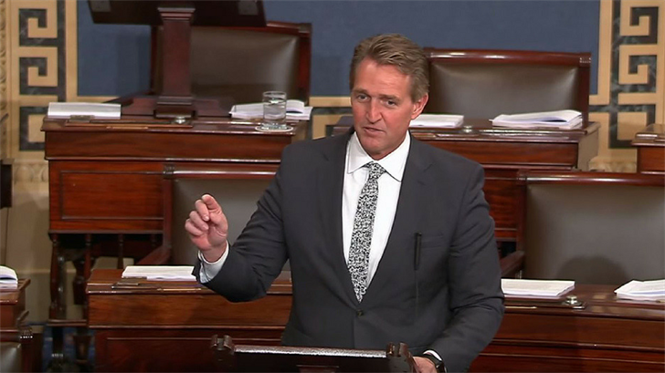 "Sen. Jeff Flake, R-Arizona, explains his vote against the bipartisan budget deal to keep government open. Bipartisanship is good, he said, ""but not when it's bought and paid for with billions of taxpayer dollars."" (Source: Sen. Jeff Flake's office)"