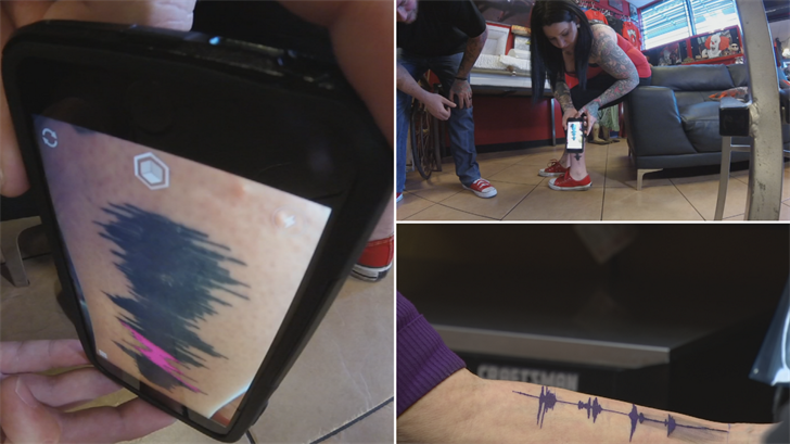 people across the countryhave been getting sound waves of their child's laughter, their favorite team's fight songand greetings from lost loved ones, preserved as tattoo art on their bodies. (Source: 3TV/CBS 5)