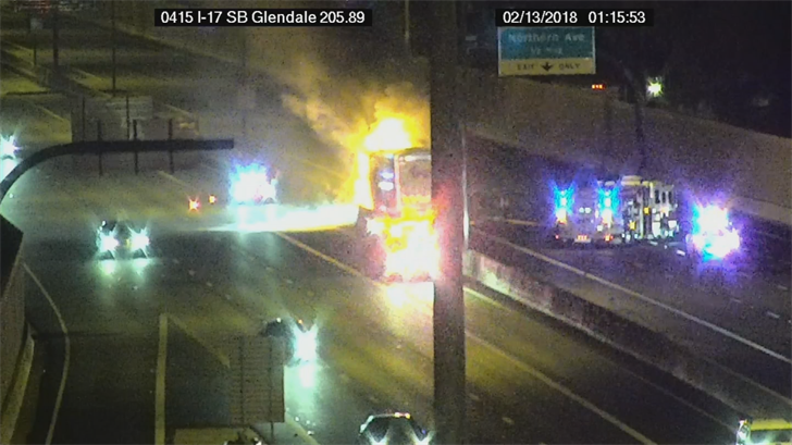 A semi caught fire after a crash on northbound Interstate 17 at Glendale Avenue. (Source: ADOT)