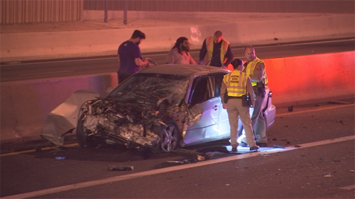The semi hit a car that previously crashed into the median. (Source: 3TV/CBS 5)