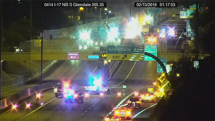 Northbound I-17 was closed at Glendale Avenue for the crash. (Source: ADOT)