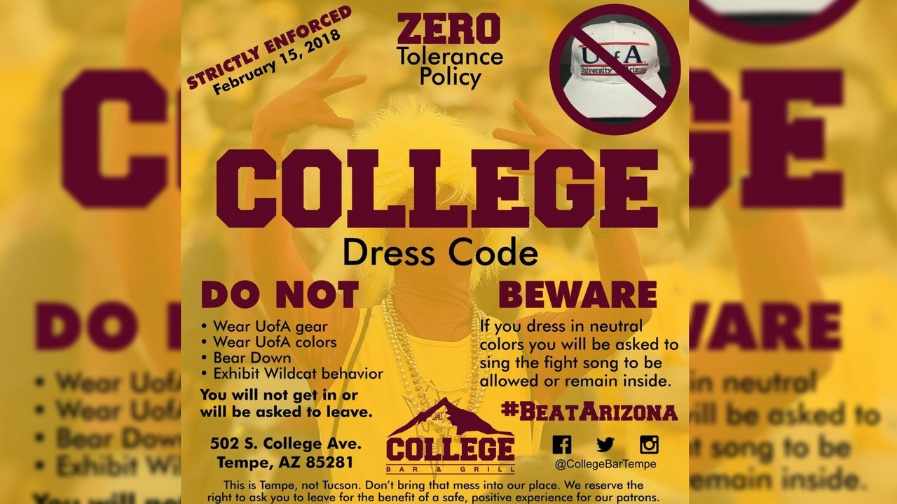 Twitter flyer posted by College Grill & Bar (Source: Twitter)