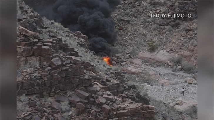 Authorities say four people who survived when a sightseeing helicopter crashed at the Grand Canyon earlier this month are still hospitalized in critical condition. (Source: Teddy Fujimoto)