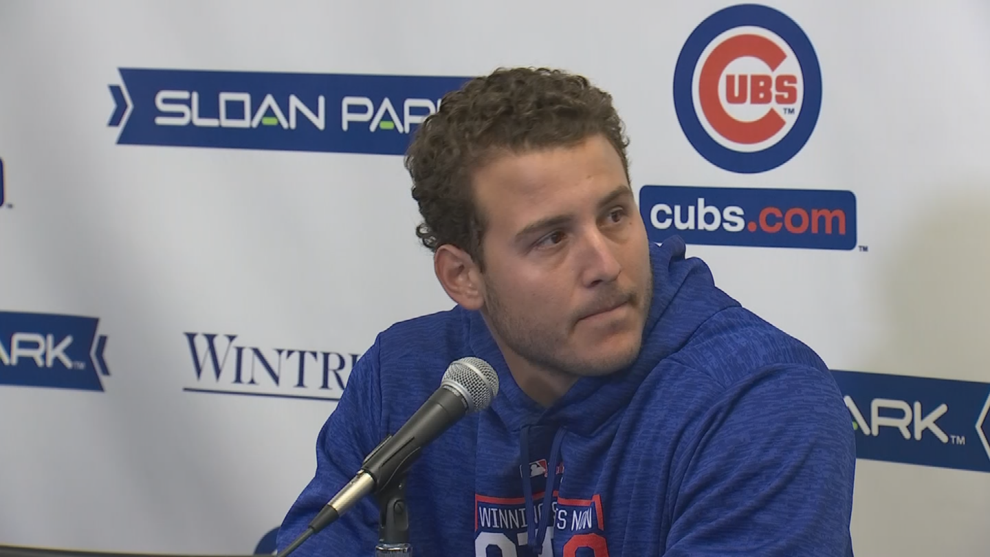Cubs first baseman, Anthony Rizzo, discussing the deadly shooting at the Florida high school. (Source: 3TV/CBS 5).