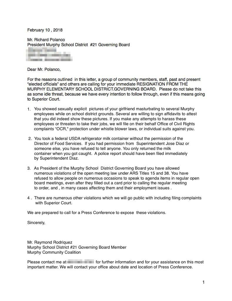 Feb. 10 letter sent to Polanco; Click to enlarge (Source: Bob Donofrio, Murphy Community Coalition)