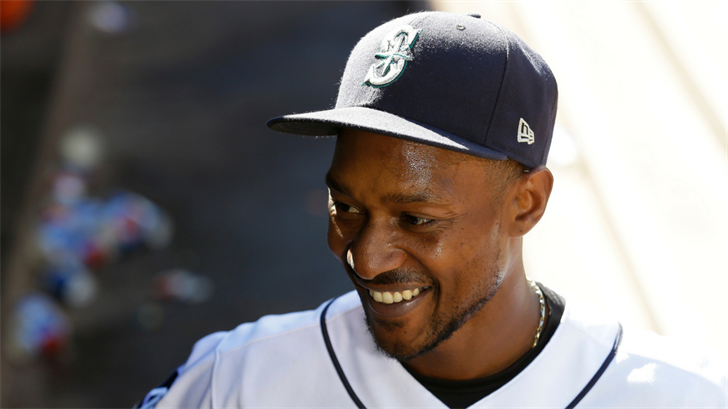 Seattle Mariners' Jarrod Dyson is interviewed after a baseball game against the New York Mets, Saturday, July 29, 2017, in Seattle. (Source: AP Photo/Ted S. Warren)