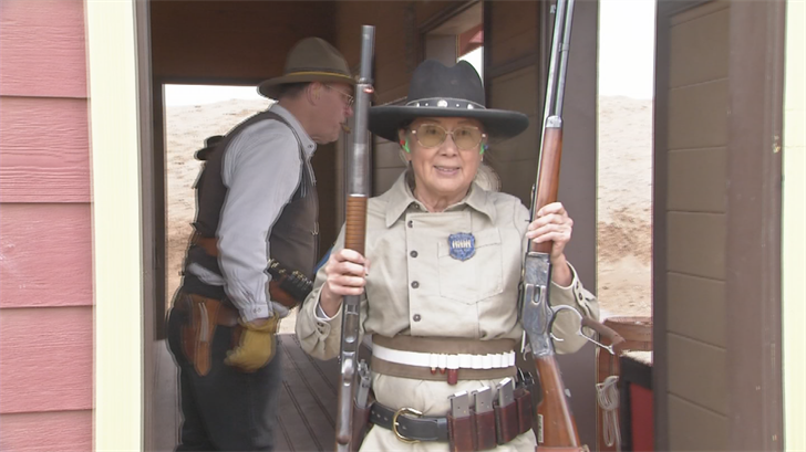 They only use guns that were used in the Old West, like single-action revolvers, lever-action rifles and period shotguns. (Source: 3TV/CBS 5)