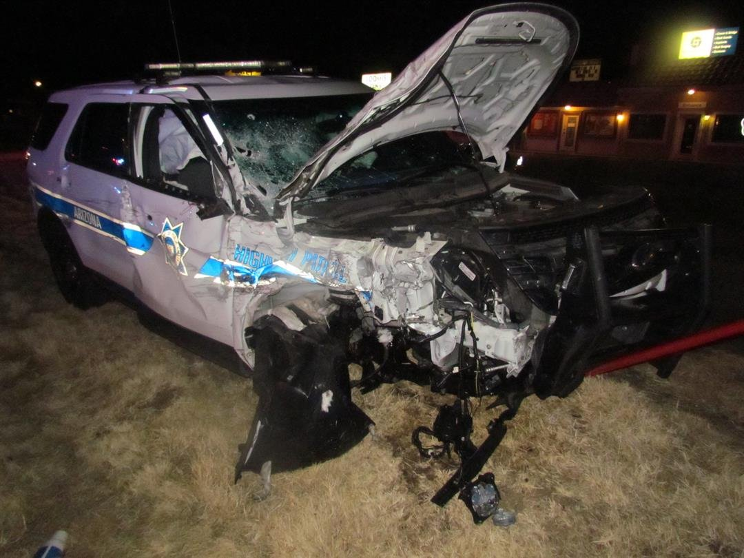 The DPS trooper was treated for non-life-threatening injuries. (Source: Prescott Valley PD)