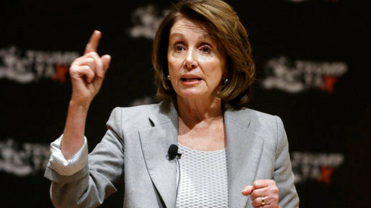 House Minority Leader Nancy Pelosi of Calif., speaks during a town hall-style meeting, Thursday, Feb. 1, 2018, at the Cambridge Public Library, in Cambridge, Mass.(AP Photo/Steven Senne)