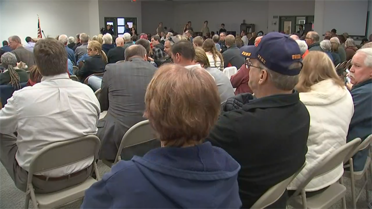 At least 200 people showed up to a packed house at the Arizona Corporation Commission's 6 p.m. public hearing at Pinal County Board of supervisors building. (Source: 3TV/CBS 5)