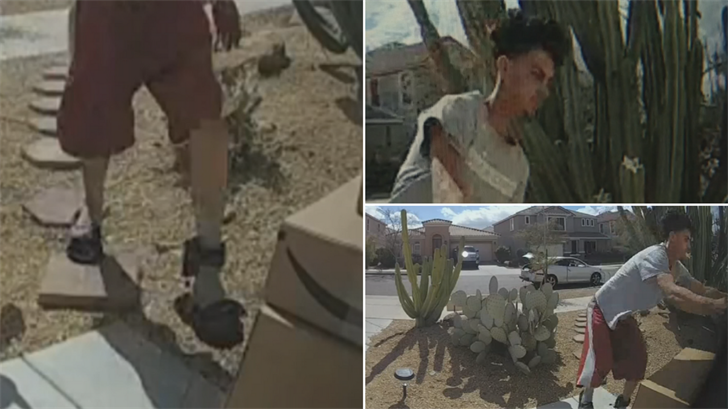 A thief with an ankle monitor was caught on camera stealing packages from a home in Laveen. (Source: 3TV/CBS 5)