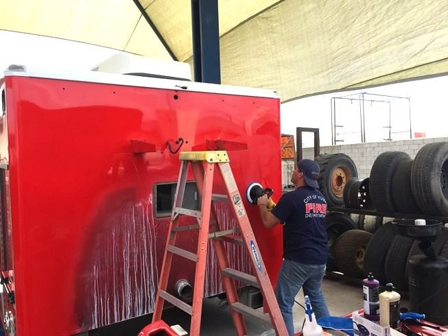 The department bought a new chassis from an auto dealership and then paid other businesses to finish outfitting the vehicle, which includes a gurney to load patients. (Source: Yuma Fire Department Facebook)