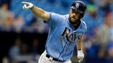 In this Aug. 6, 2017 file photo, Tampa Bay Rays' Steven Souza Jr. celebrates after his walk off home run off Milwaukee Brewers relief pitcher Jacob Barnes during the ninth inning of an interleague baseball game in St. Petersburg. (AP Photo/Chris O'Meara)