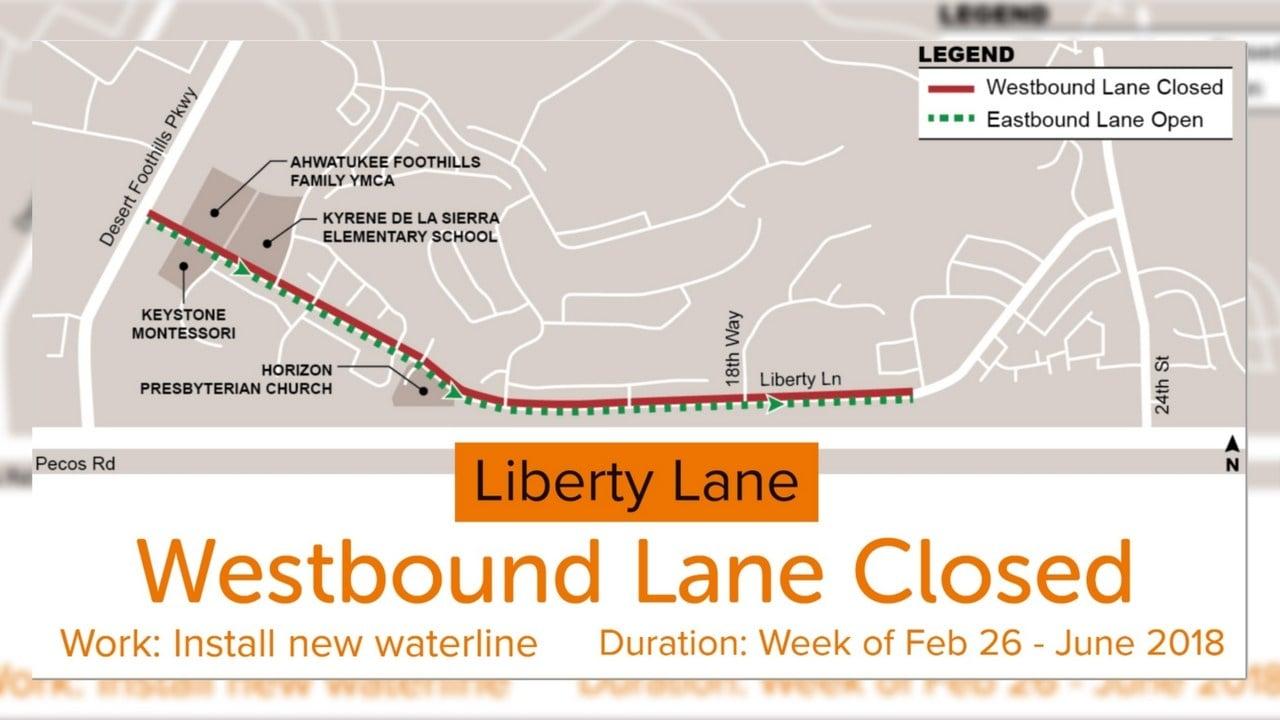 Map of lane closure along Liberty Lane (Source: ADOT)