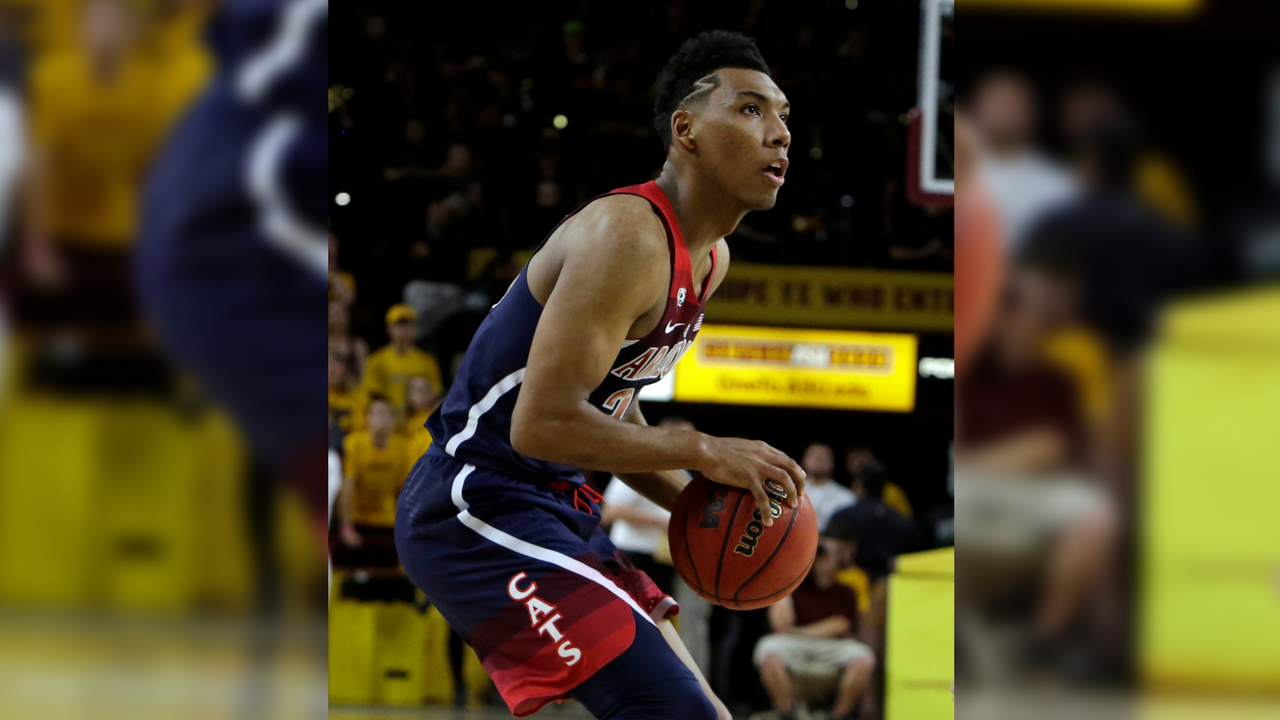 Arizona guard Allonzo Trier (35) in the second half during an NCAA college basketball game against Arizona State, Thursrday, Feb. 15, 2018, in Tempe, Ariz. Arizona defeated Arizona State 77-70. (Source: AP Photo/Rick Scuteri)