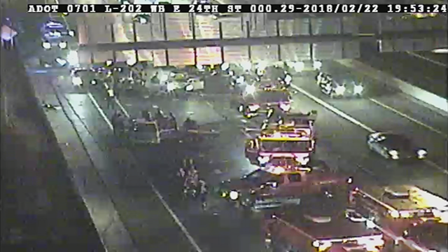 Seven people are in the hospital, 3 in critical condition after a crash on the Loop 202 in Phoenix. (Source: Arizona Department of Transportation)