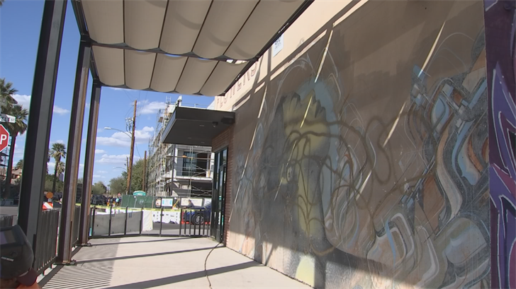 The mural is located on the west-side of the Flowers building. (Source: 3TV/CBS 5)
