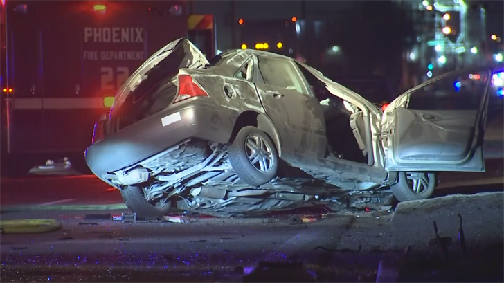 Two men were hospitalized after a crash in southwest Phoenix. (Source: 3TV/CBS 5)