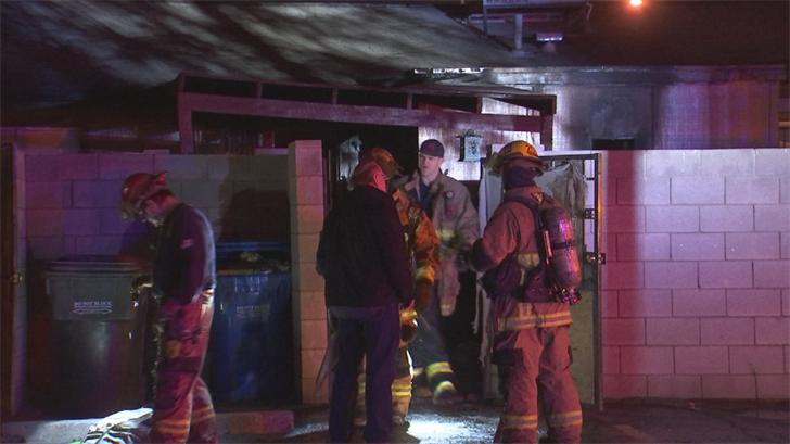 Two families will be displaced and four dogs were rescued after a condo fire in Phoenix Sunday night. (Source: 3TV/CBS 5)