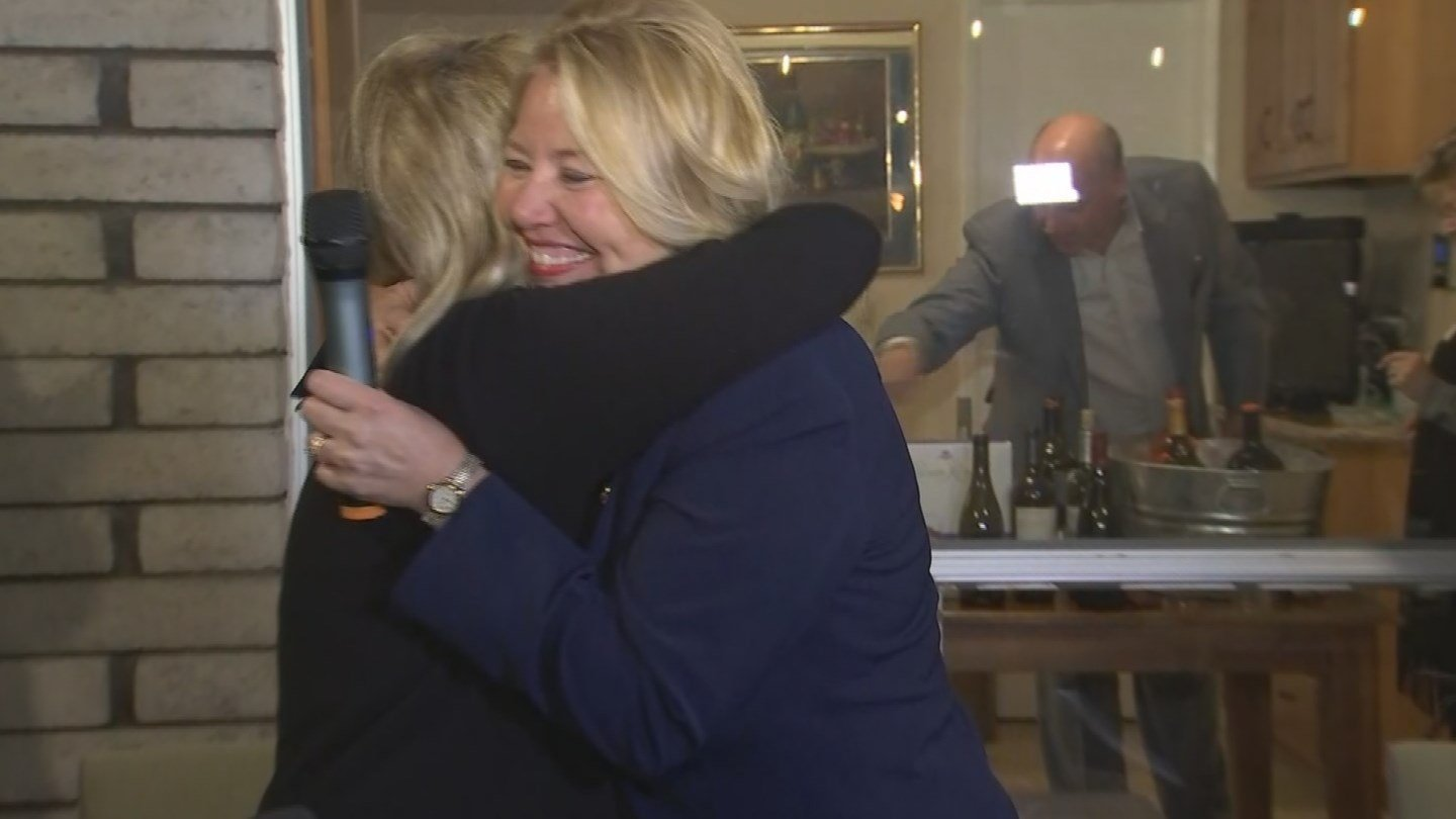 Former Gov. Jan Brewer was on hand with a hug as Republican Debbie Lesko spoke from her home Tuesday night. (Source: 3TV/CBS 5)