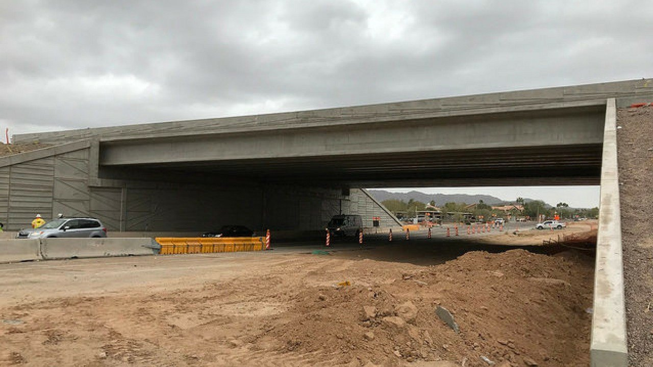 Before crews painted the 40th Street interchange. (Source: ADOT)