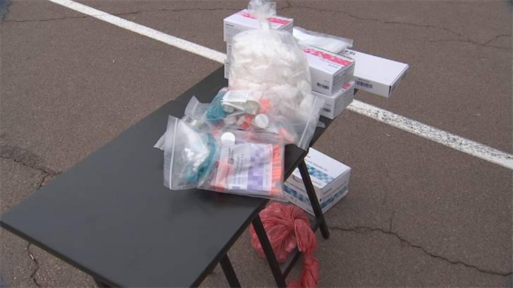 The supplies include clean needles, cotton swabs, alcohol wipes, tourniquets and Narcan. (Source: 3TV)