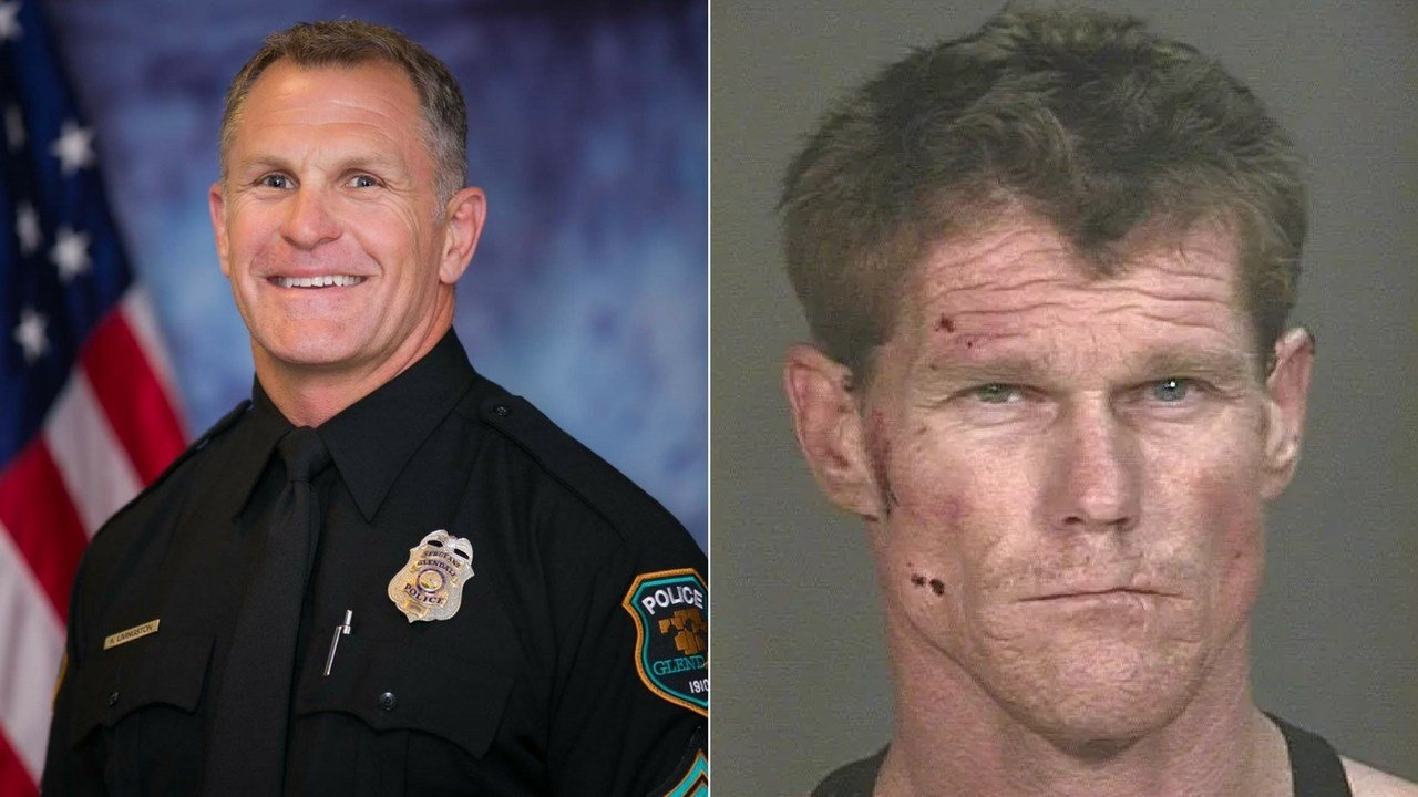 From L to R: Sgt. Robert Livingston and suspect Stephen Hudak (Source: Glendale Police Department)