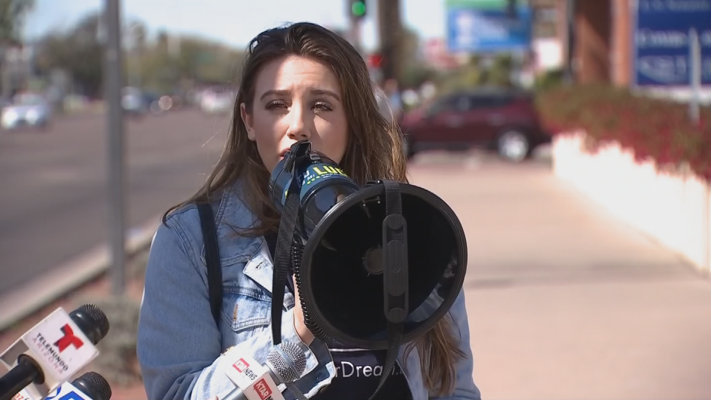 Activists outside Senator Flake's office said even though the March 5 deadline has been lifted, there's still an urgent need to get a DACA fix in place right away. (Source: 3TV/CBS 5)