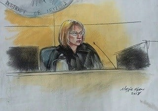 A sketch of the judge during Monday's hearing. (Source: Maggie Keane)