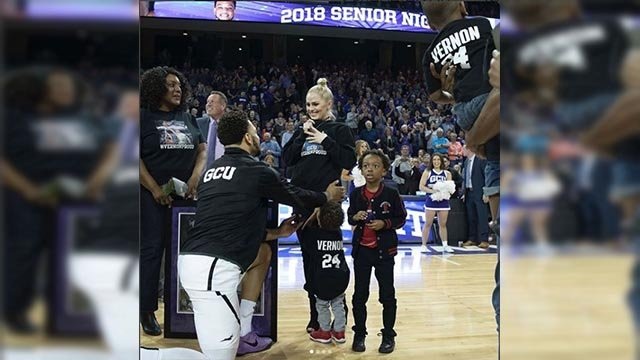 GCU Senior Keonta Vernon proposes to girlfriend Katie at senior night. (Source: 3TV/CBS 5)