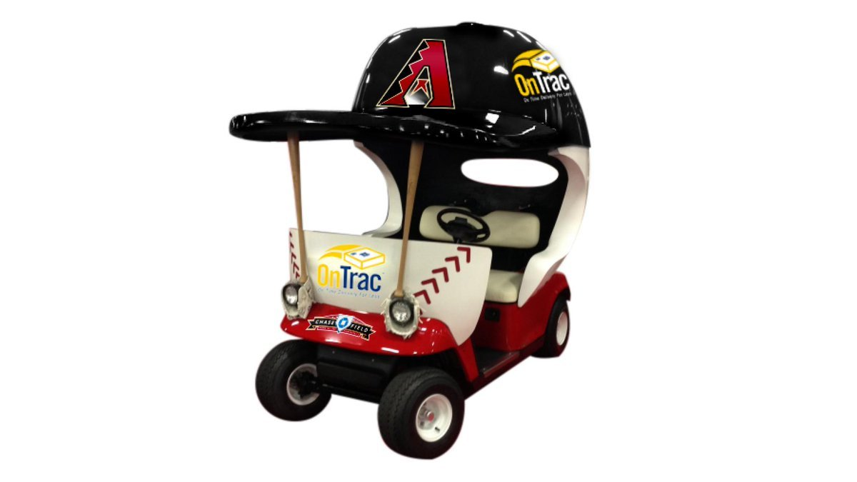The Arizona Diamondbacks announced Tuesday they will use a cart - topped by the requisite oversized team cap - to transport pitchers from both bullpens at Chase Field. (Source: Arizona Diamondbacks)