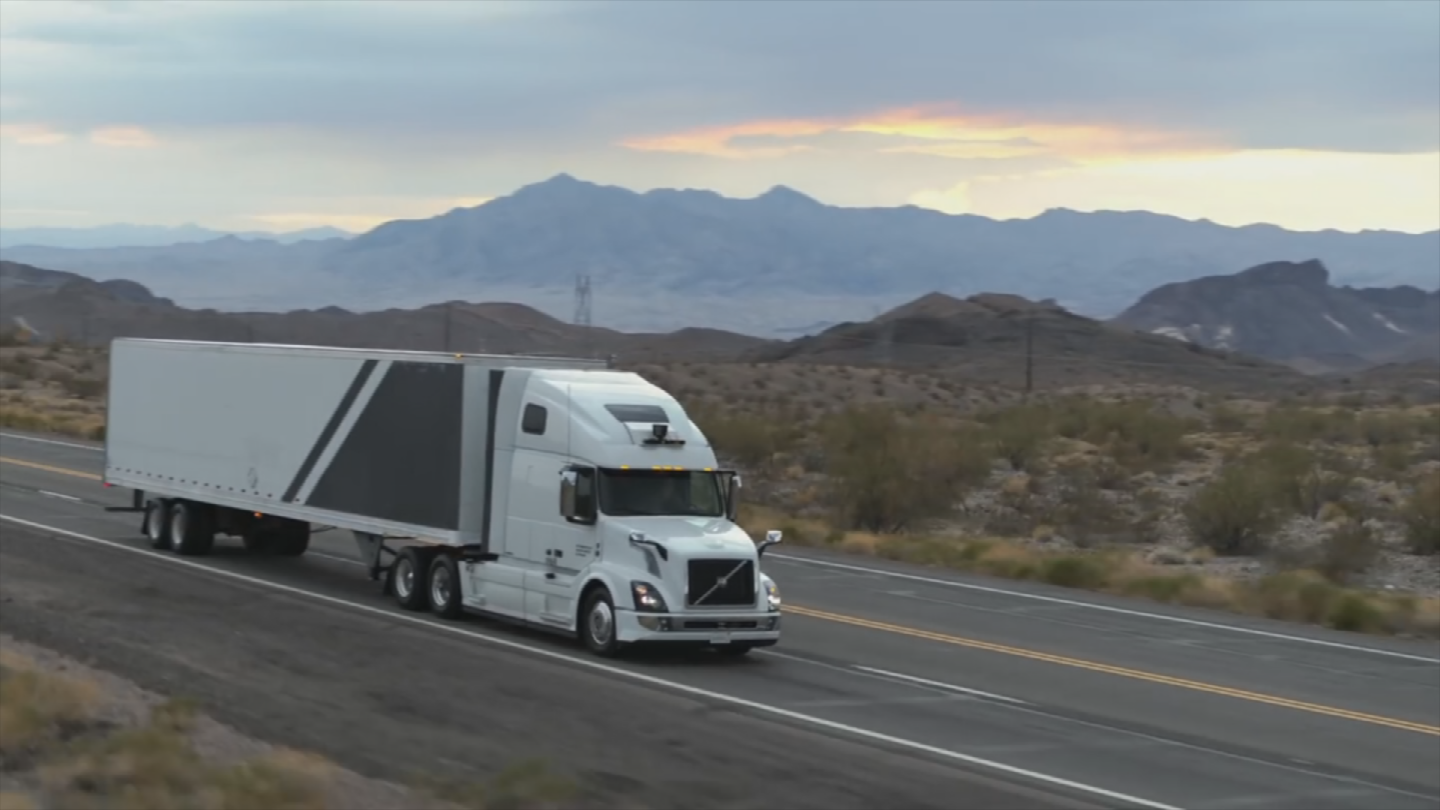 Uber announced Tuesday that their self-driving trucks are already moving freight in Arizona. (Source: Uber)