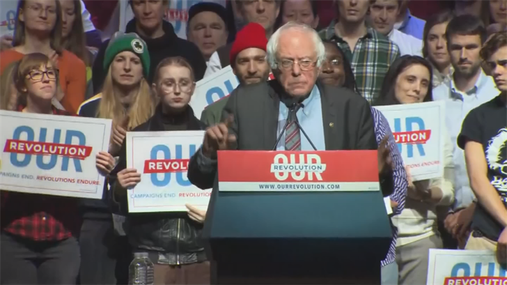 File photo of Vermont Senator Bernie Sanders at a rally. (Source: 3TV/CBS 5)