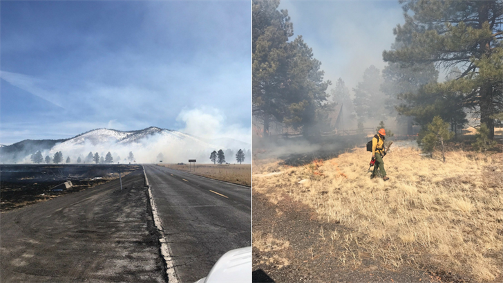 Authorities say a crashed drone sparked a wildfire northwest of Flagstaff that was contained after charring more than 300 acres. (Source: U.S. Forest Services)