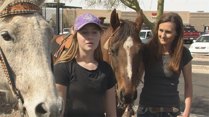 Aspen Cline was denied service at Starbucks when riding her horse through the drive-thru (Source: 3TV/CBS 5)